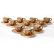 Set of  10 German Porcelain Capodimonte Style Cups & Saucers