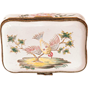 18th C. French Faience Hand Painted Box