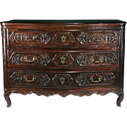 18th C. French Provincial Régence Oak Carved Commode