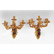 Pair Of 19th C. Louis XV Patinated Bronze Cast Six Light Sconces