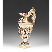 Capodimonte and Nautical Style German Porcelain Bas-Relief Ewer or Urn