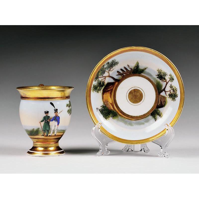 First Empire Vieux Paris Porcelain Cup & Saucer
