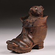 19th C. Black Forest Hand Carved Cat in Shoe Inkwell