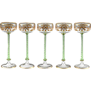 Five 19th Century Venetian Enameled Wine Goblets