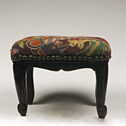 19th C. Petite Louis XV Beechwood Footstool With Needlepoint