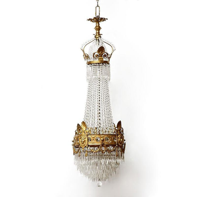 French Empire Bronze and Crystal Chandelier