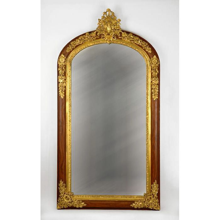 French Napoleon III Bronze Mounted Rosewood Mirror