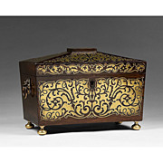 19th C. Rosewood Regency Tea Caddy with Brass Overlay