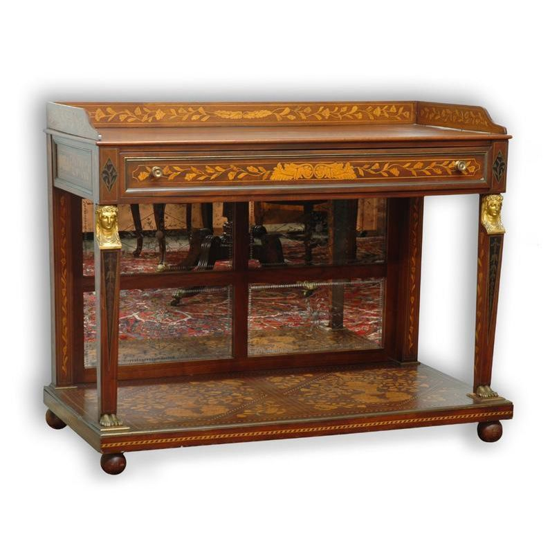 19th C. Dutch Marquetry Style American Console Server
