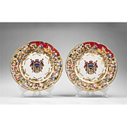 Pair of Deep Bas-Relief Capodimonte Charger Plates With Coat of Arms