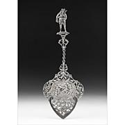 1928 Ornate Dutch Pierced Engraved Silver Serving Spoon
