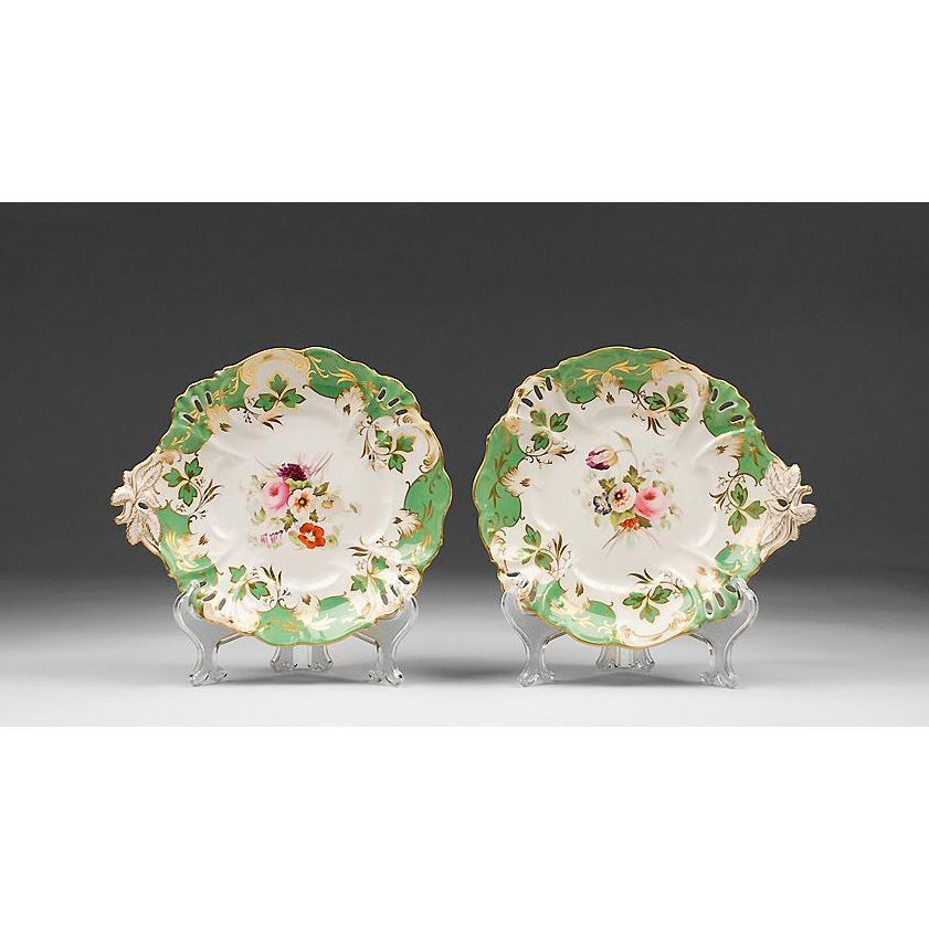 Pair of Early 19th C. English Hand Painted Compotes