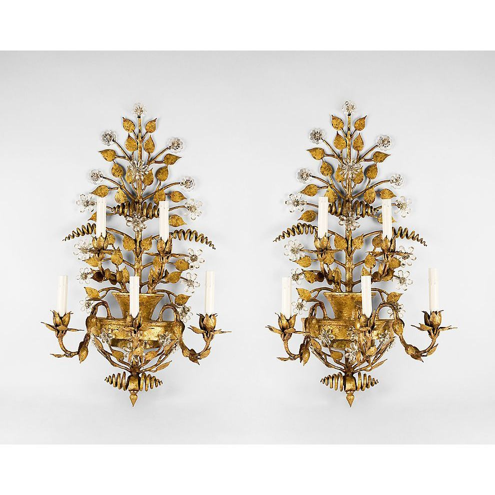 Mid 20th C. Gilded Wrought Iron And Crystal Floral Sconces