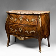 19th C. Louis XV Kingwood Parquetry Commode