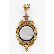 Regency Giltwood Bullseye Convex Mirror Mounted With Hippocamp