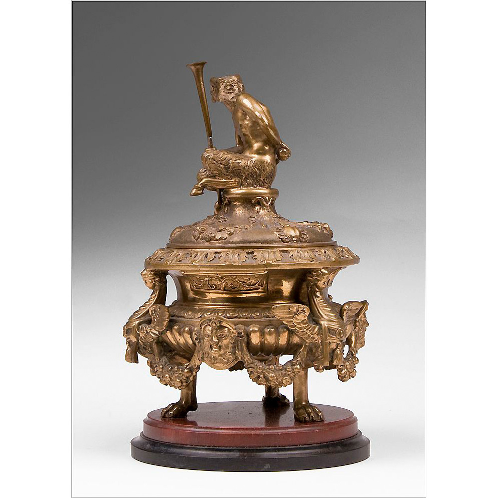 French Empire Style Bronze Encrier or Inkwell