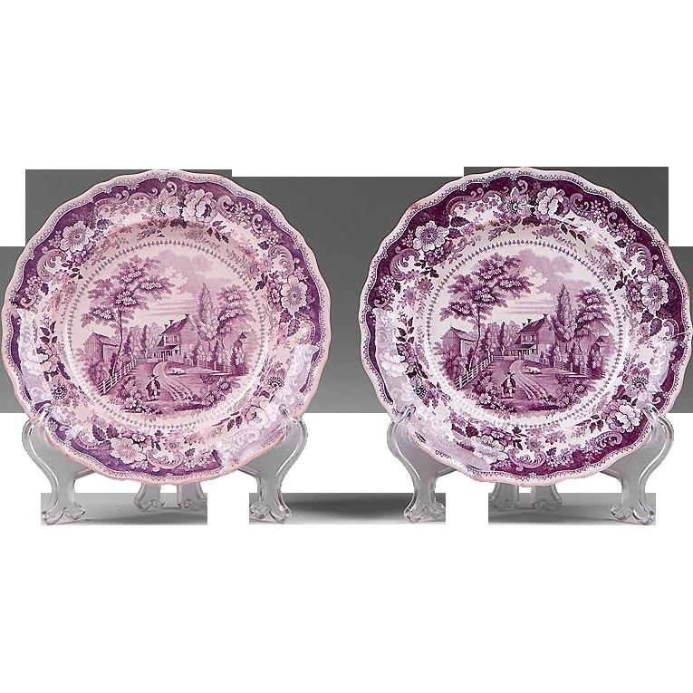Pr. Of American Historical Staffordshire Purple Transferware Plates by Joseph Heath & Co., 1835