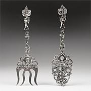 1885 Ornate Dutch Silver Pierced Engraved Serving Spoon & Fork
