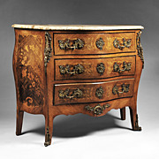 19th C. French Louis XV Floral Marquetry Commode