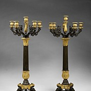 19th C. French Empire Six Light Bronze And Patinated Candelabras
