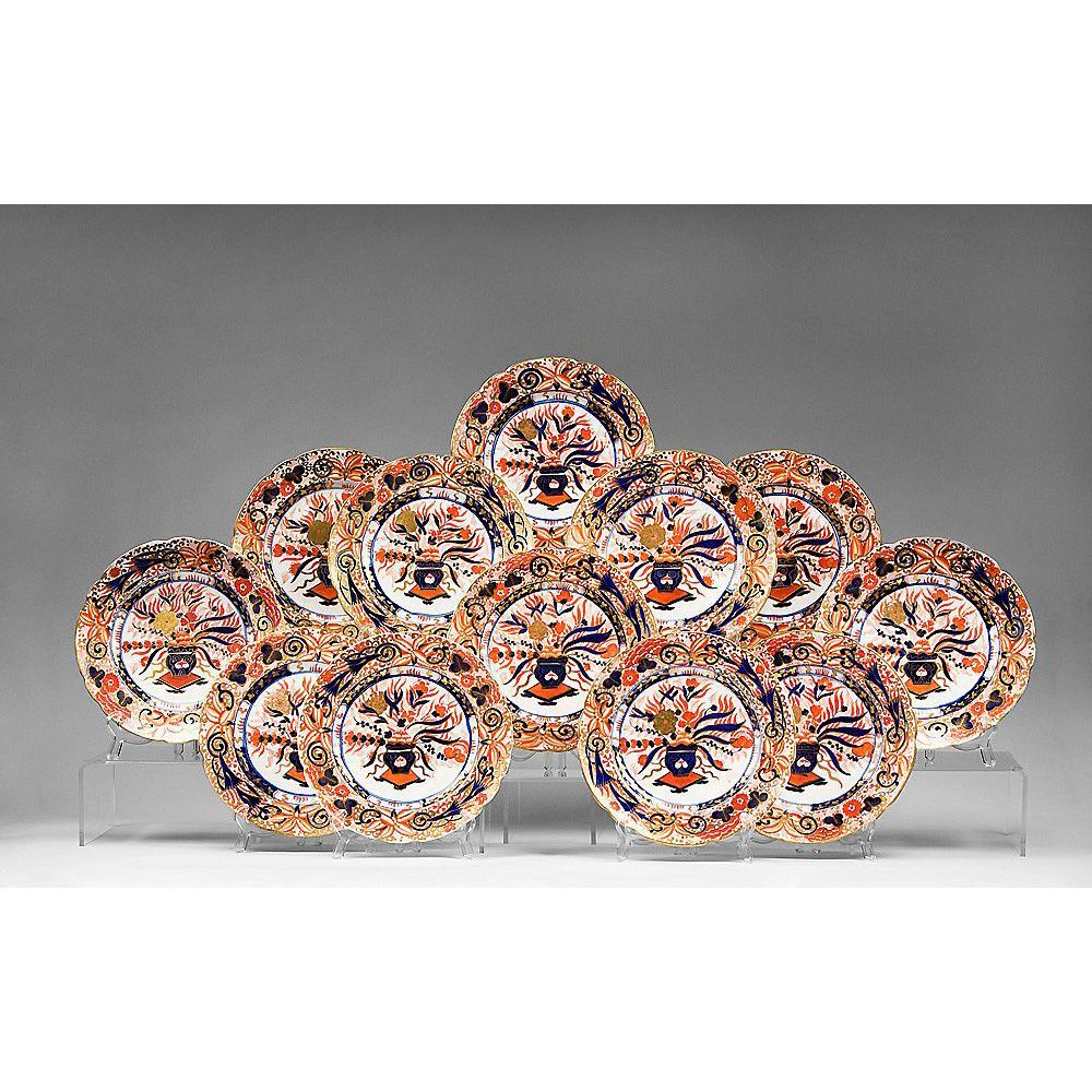 Set of 12 Early 19th C. Imari Pattern English Ironstone Plates