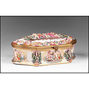 Capodimonte Bas Relief Jewelry Box or Casket