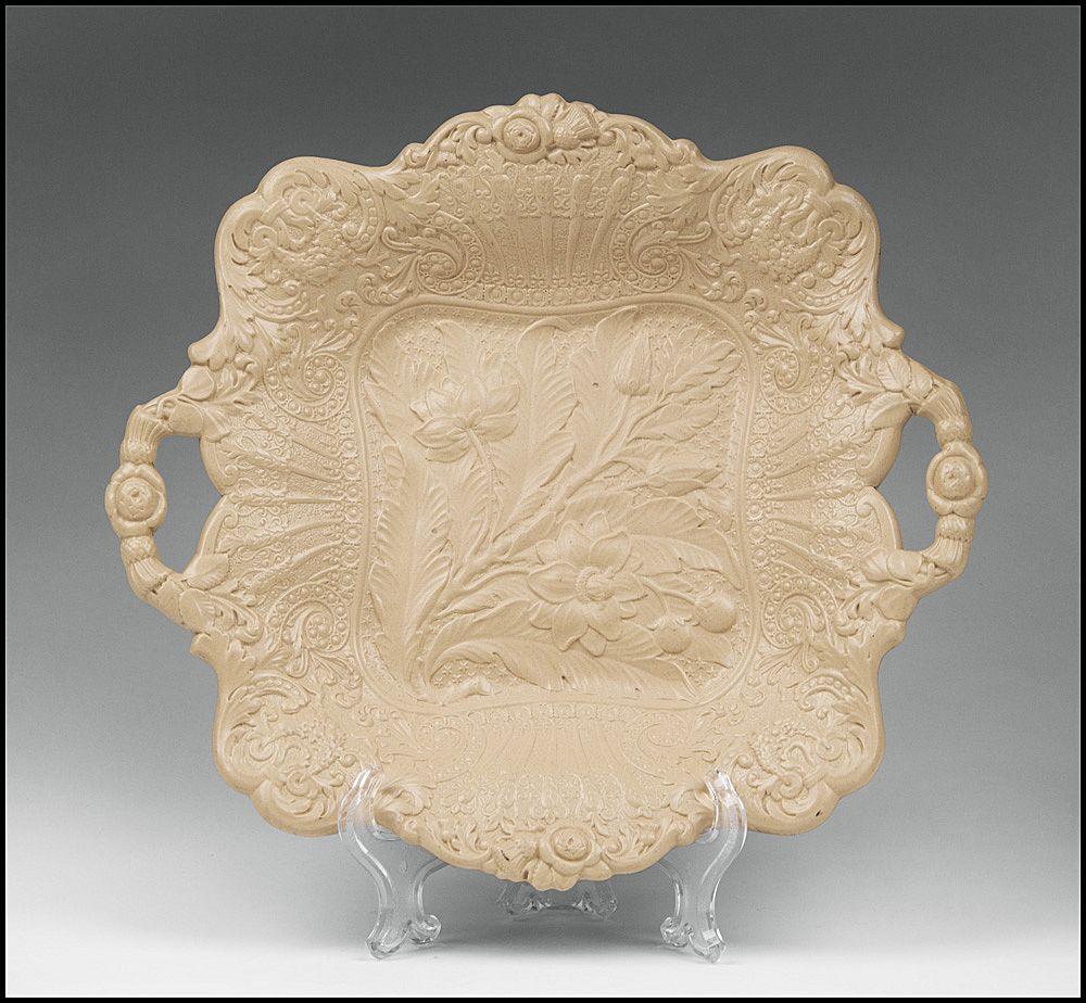 1830 Ridgway Drabware Molded Cake Plate