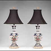 Pair of Hand Painted Faience Vases Fitted As Lamps
