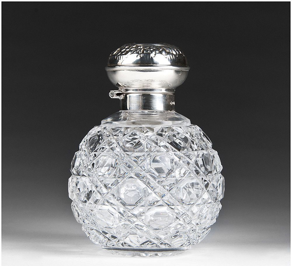 Cut Glass English Perfume Bottle With Sterling Silver Top