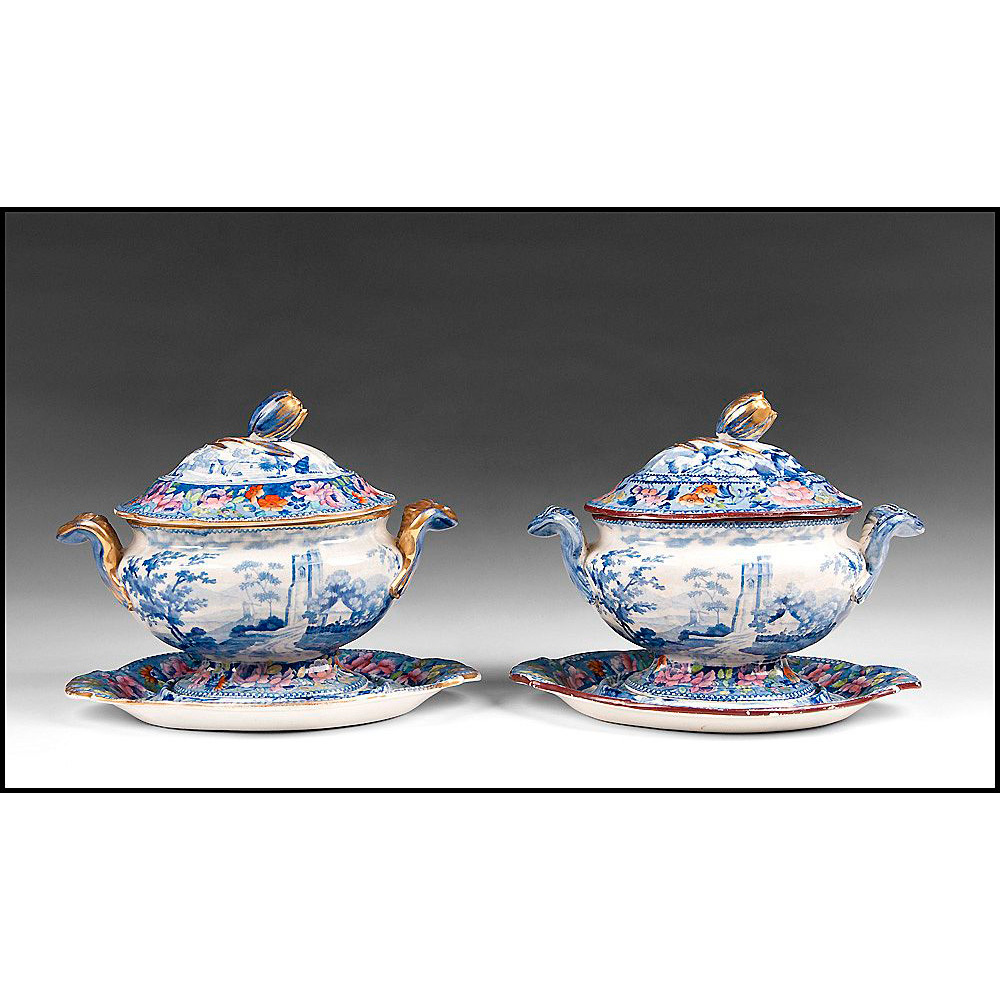 Near Pair of William Mason Beaded Frame Mark Series Sauce Tureen With Stands and Cover