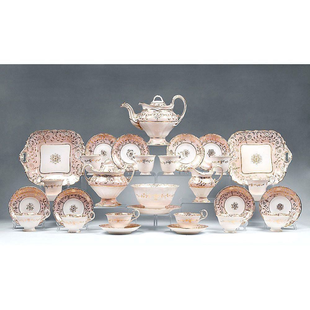 Spode 19th Century 33 Pc. English Neo Rococo Hand Painted Dessert Set