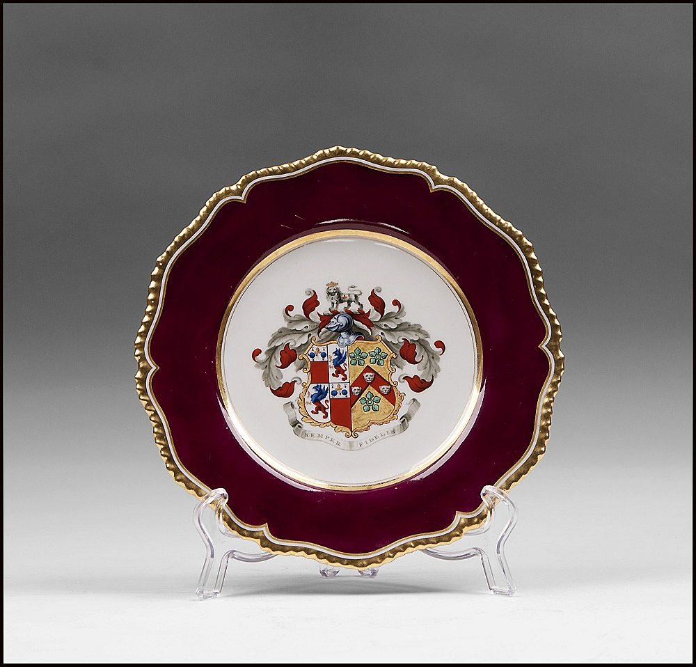 Worcester Flight, Barr & Barr Armorial Porcelain Plate