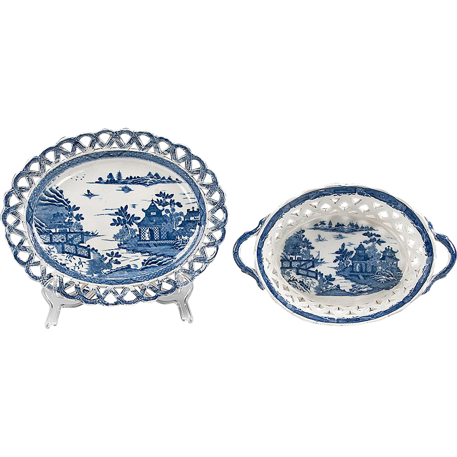 Chinoiserie Bridgeless, 1810-20, English Pearlware Chestnut Basket & Stand