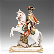 """German Kister, Scheibe Alsbach Mounted Porcelain Soldier, """"Le Prince Eugene"""""""