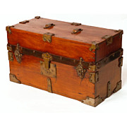 Small Captain's Sea Chest with Brass Escutcheons