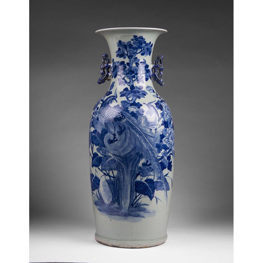 Qing Dynasty Chinese Celadon Ground Blue Underglaze Porcelain Vase