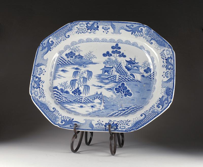 Large Mason's Ironstone Meat Platter 1813-25, Turners Willow