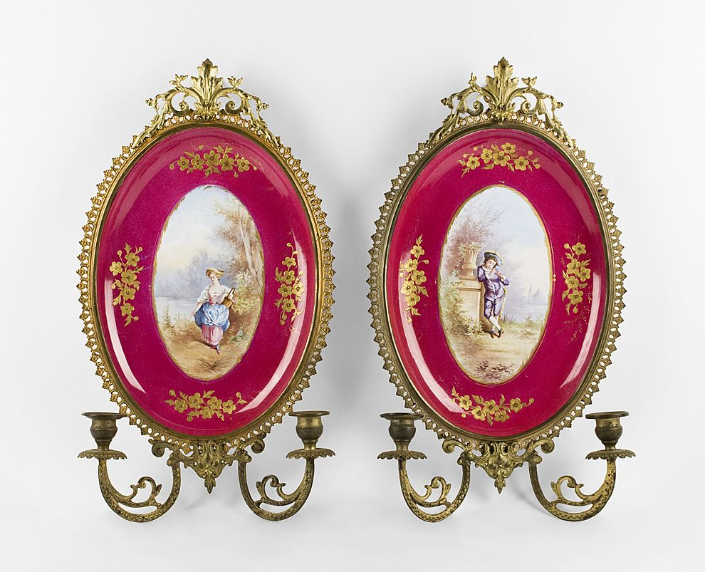 Hand Painted Paris Porcelain Plaques Mounted In Ormolu As Sconces