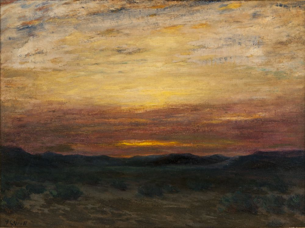 Early 20th C. Abstract Landscape, Oil on Canvasboard, Albert Lorey Groll