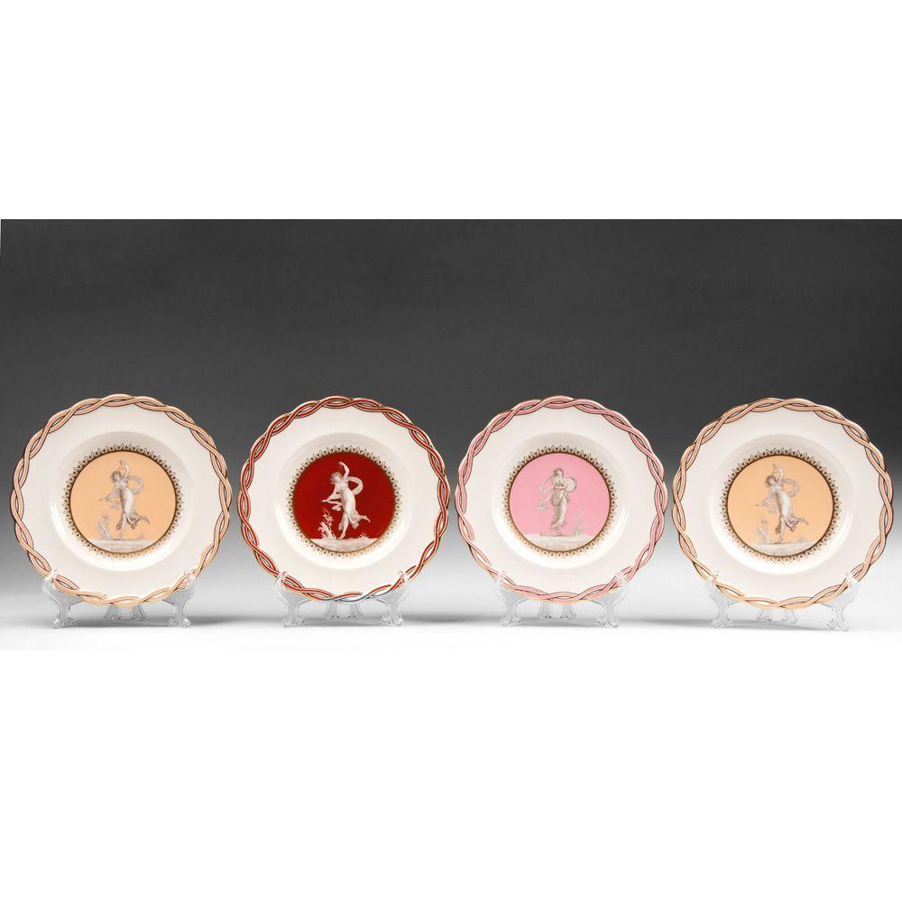 Set of Four 1929 Mintons Dessert Plates With Portrait Centers