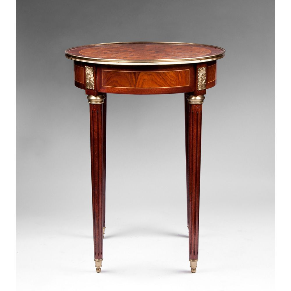 French Louis XVI Style Gueridon Table Or Stand With Parquetry Top