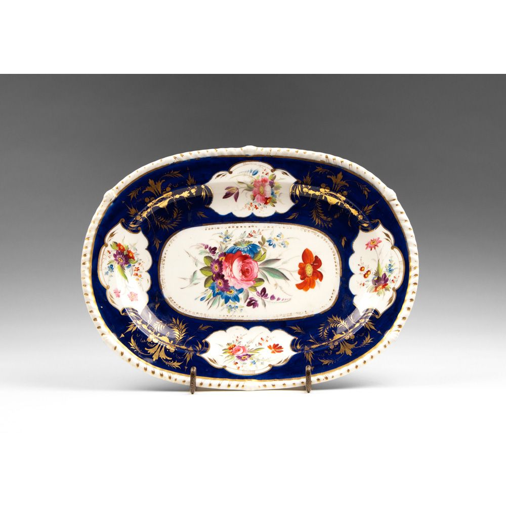 1820 English Derby Hand Painted Oval Platter