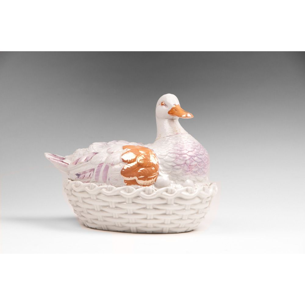 Early 19th C. Staffordshire Lustreware Duck On Nest