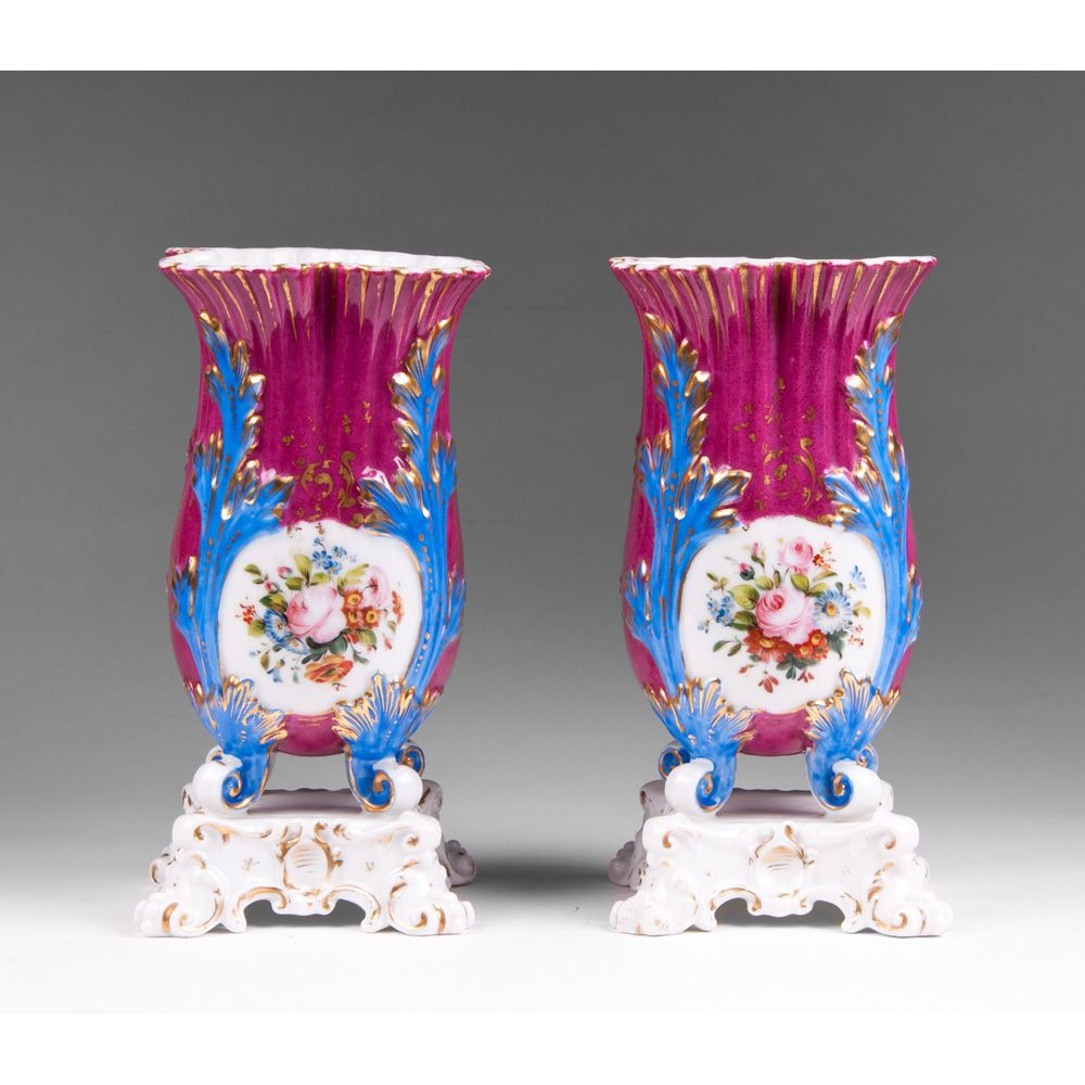 Pair of 19th C. Paris Porcelain Tulip Shaped Vases On Stands