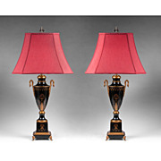 Pair Of Black Tole Peinte Classical Urns Fitted As Lamps