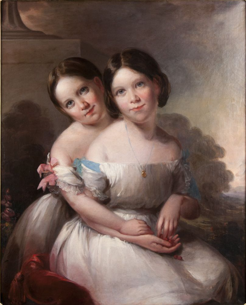 Early 19th C. American Oil Painting On Canvas Portrait Of Children