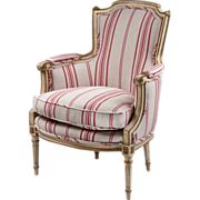 Mid 20th C. Louis XVI Style Bergere With Antique Finish By Jansen