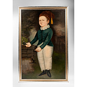 SALE Primitive Oil Painting Of Boy Manner Of Joseph Whiting Stock