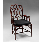 Vintage Faux Bamboo Armchair With Painted Grain Finish