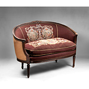 Louis XVI Ribbon Carved Canape en Corbeille Or Settee, Needlepoint
